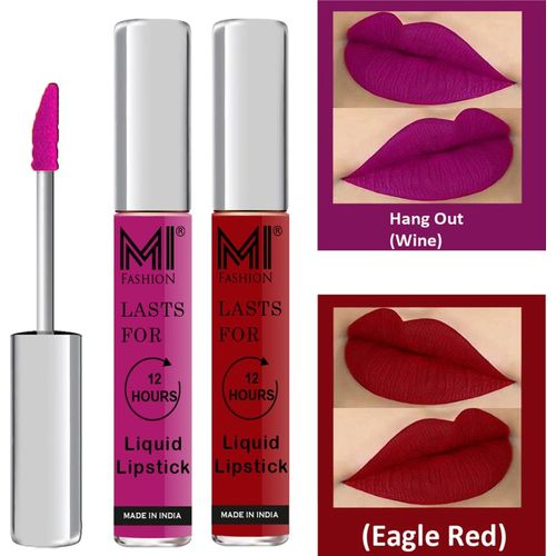MI Fashion Matte Liquid Lipsticks Waterproof Long Lasting Pigmented Lip Gloss Set of 2(Wine Liquid Lipstick,Eagle Red Liquid Lipstick, 6 ml)