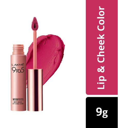 Lakme 9 to 5 Weightless Mousse Lip & Cheek Color(Fuchsia Sude, 9 g)