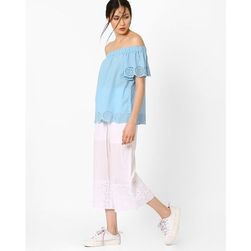 AJIO Off-Shoulder Top with Schiffli Embroidery