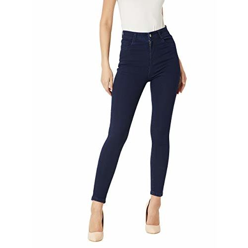Miss Chase Women's Navy Blue Skinny High Rise Denim Jeans(MCAW18DEN02-76-71-32,Navy Blue,32)