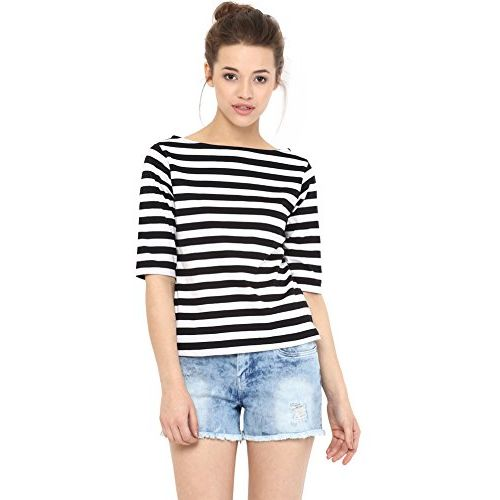 Miss Chase Black Boat Neck Basic Top (MCSS16TP06-73)
