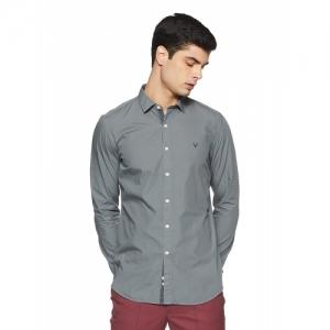 Allen Solly Grey Cotton Solid Slim Fit Casual Shirt