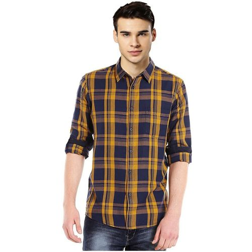 IndoPrimo Men Checkered Casual Blue, Yellow Shirt