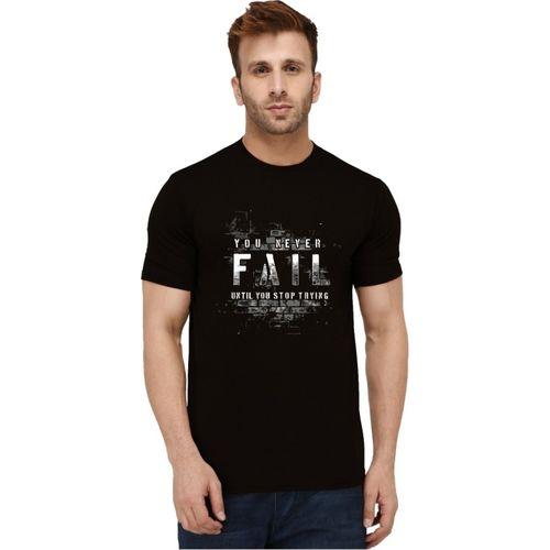 London HILLS Printed Men Round Neck Black T-Shirt