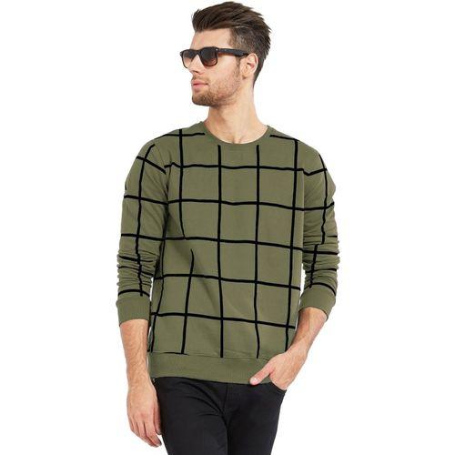 Maniac Checkered Men Round Neck Dark Green, Black T-Shirt