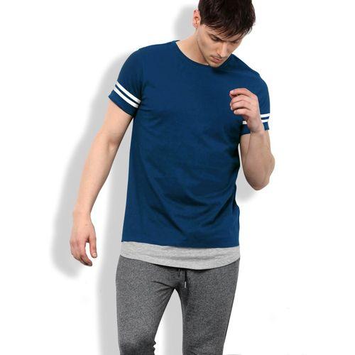 Maniac Solid Men Round Neck Dark Blue, Grey T-Shirt