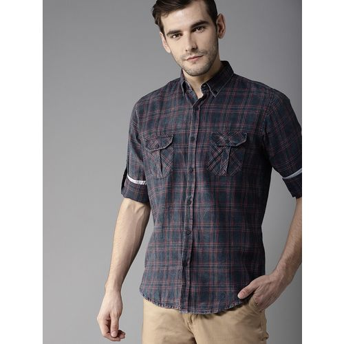 DENNISON blue cotton casual shirt
