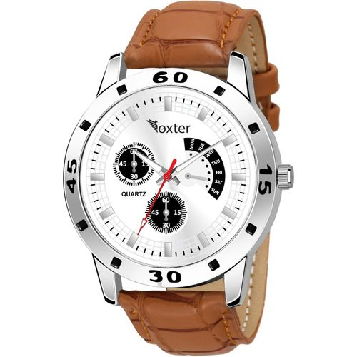 FOXTER Chronograph Design Brown Strap White Dial Analog Watch - For Men