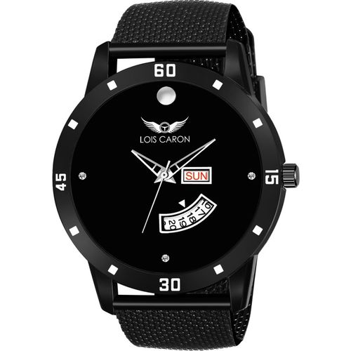 LOIS CARON LCS-8204 BLACK DIAL DAY & DATE FUNCTIONING WATCH Analog Watch - For Men