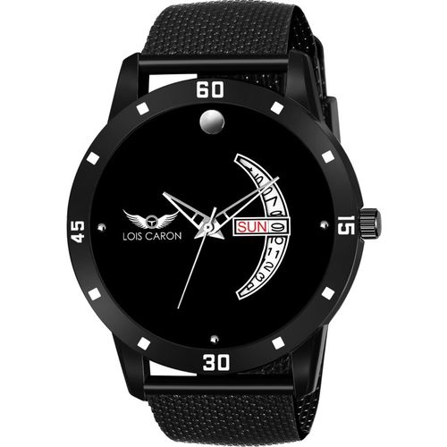 LOIS CARON LCS-8165 BLACK DIAL DAY & DATE FUNCTIONING WATCH Analog Watch - For Men