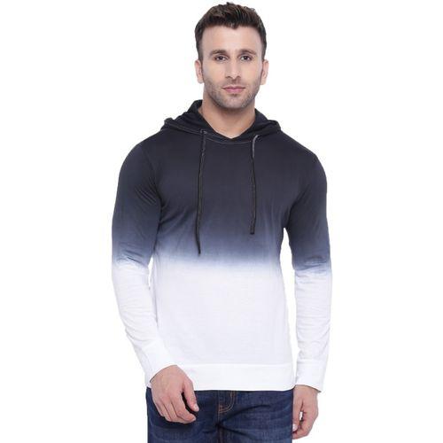 Gritstones Ombre Men Hooded White, Black T-Shirt