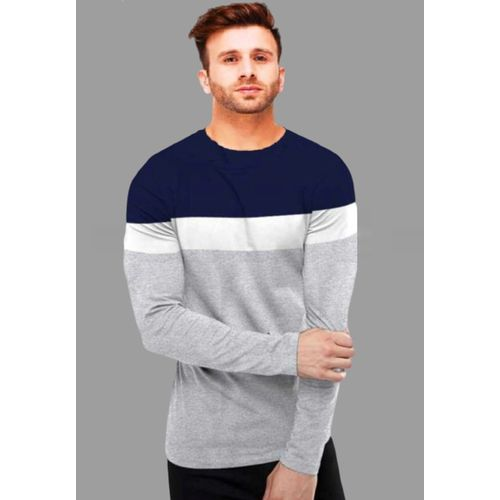 FastColors Multi Colour Cotton Colour Block Slim Fit T-Shirt