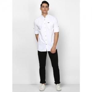 Urbano Fashion Men Self Design Casual White Shirt