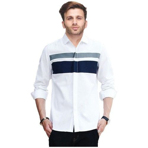 IndoPrimo Men Solid Casual White Shirt