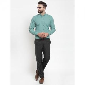 JAINISH Green Cotton Solid Full Sleeve Formal Shirt