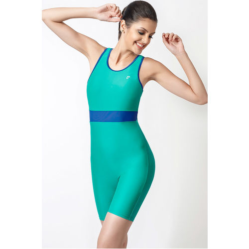 Zivame Aqua Tummy Smoothening Cut Out Racerback Legsuit Swimwear With Removable Cups