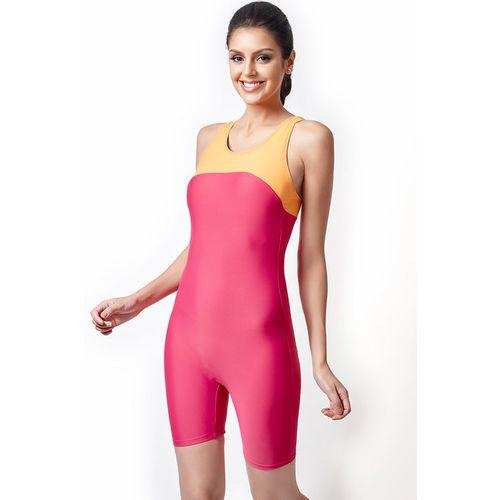 Zivame Aqua Tummy Smoothening Racerback Legsuit Swimwear With Inbuilt Cups