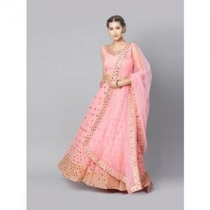 Inddus Pink Embellished Semi Stitched Lehenga Choli Set