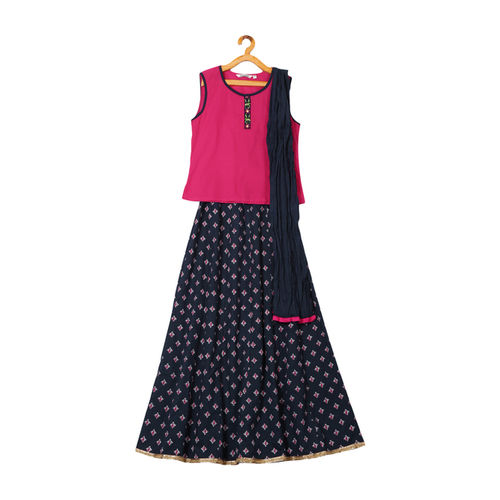 Karigari Kids by Unlimited Pink & Navy Printed Lehenga Choli Set With Dupatta