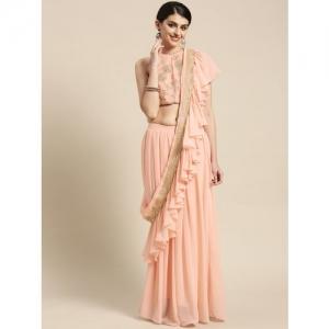 Inddus Pink Solid Ruffle Lehenga Saree