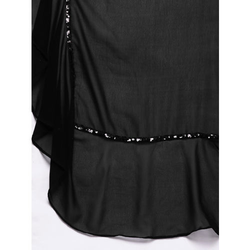 Inddus Black Solid Poly Georgette Lehenga Saree With Sequinned Details