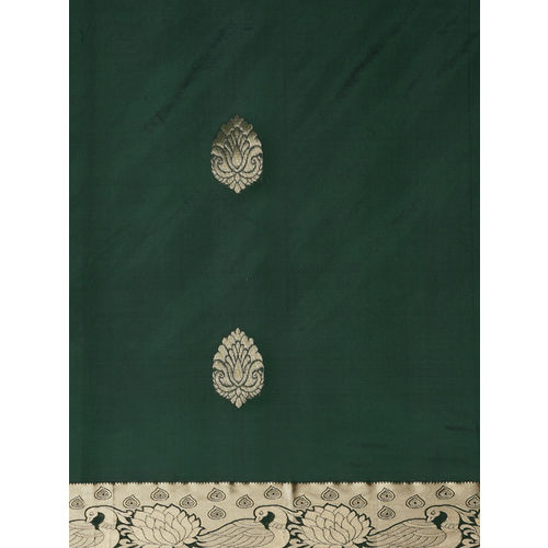 The Chennai Silks Green Zari Work Saree With Blouse