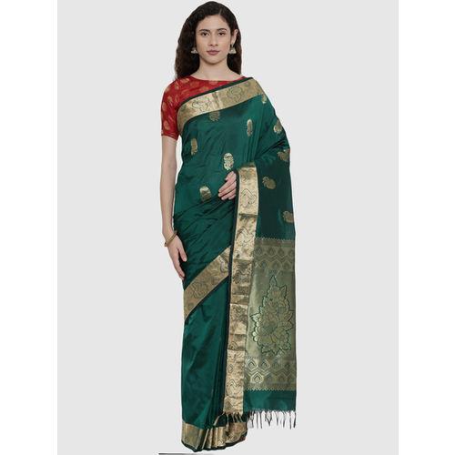 The Chennai Silks Green Zari Work Saree With Blouse