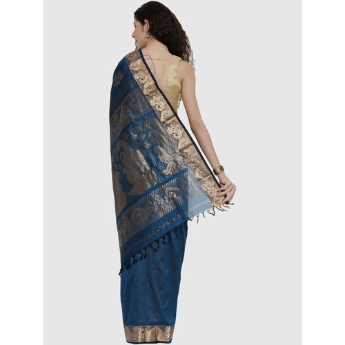 The Chennai Silks Royal Blue Zari Work Saree With Blouse