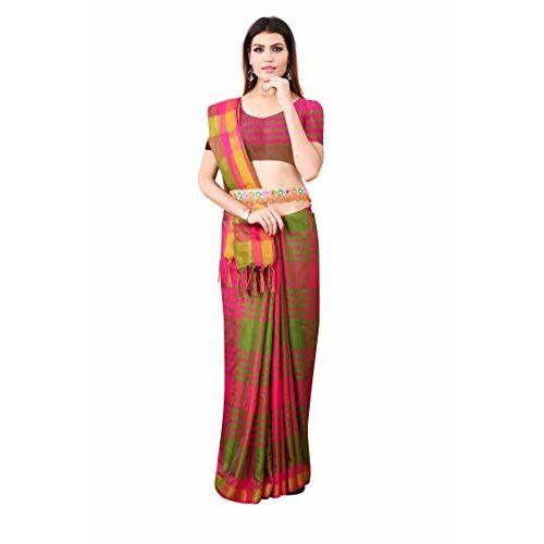 Nirmla Fashion Women's Soft Cotton Silk Saree with Blouse Piece Saree (Saree Checks_Free Size) (Multicolored)