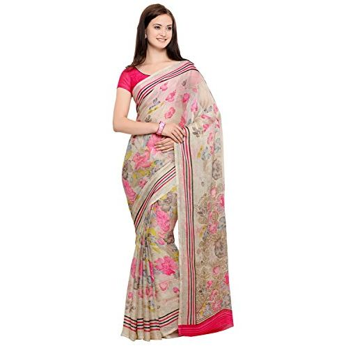 Vaamsi Polyester Georgette Saree with Blouse Piece (CC1018_Beige_One Size)