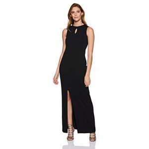Miss Olive Black Plain Front Side Cut Body Con Maxi Dress