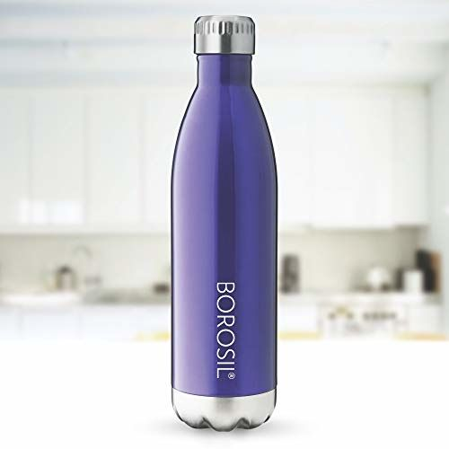 Borosil Stainless Steel Hydra Bolt Trans - Vacuum Insulated Flask Water Bottle, Blue, 1L