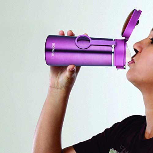 Borosil Stainless Steel Hydra Travelease - Vacuum Insulated Flask Water Bottle, 360 ML, Purple