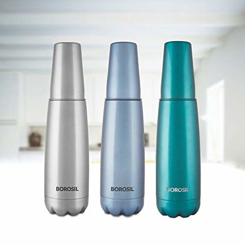Borosil Stainless Steel Hydra Bolt with Drinking Glass - Vacuum Insulated Flask Water Bottle, 1L