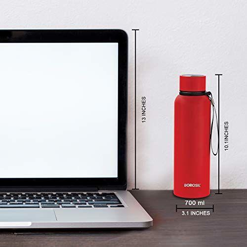 Borosil Stainless Steel Hydra Trek - Vacuum Insulated Flask Water Bottle, Red, 700ML