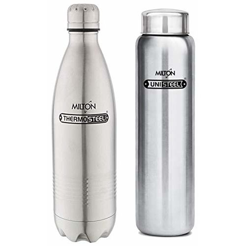 Milton Thermosteel Duo Deluxe-1000 Bottle Style Vacuum Flask, 1 Litre, Silver + Aqua Single Walled Stainless Steel Fridge Water Bottle, 930ml, Silver Combo