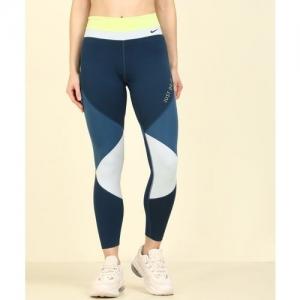 Nike Color Block Women White, Blue Tights