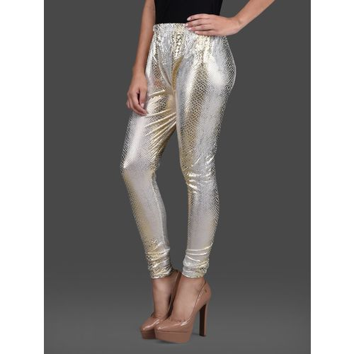 SENORA gold poly knit leggings