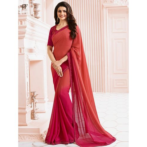 Dhandai Fashion ombre bordered saree with blouse