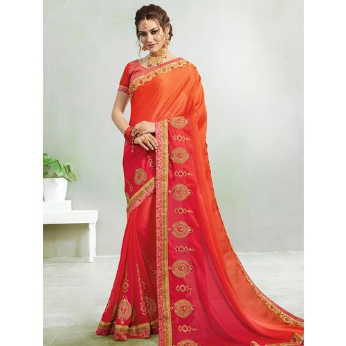 Kvsfab ombre embroidered georgette saree with blouse