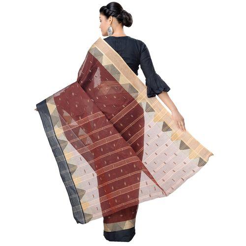 Tant Kolkata solid bordered tant saree