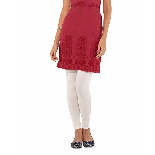 Go Colors Women's Lycra Ankle Length White Legging (Large)