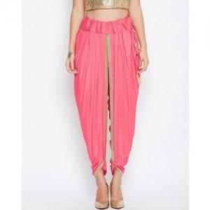 9rasa Textured Mid-Rise Dhoti Pants with Drawstring Waistband