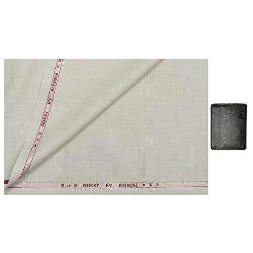 Raymond 0-Degree Men's Viscose 1.3 m Unstitched Trouser Fabric (Creme, Free Size)