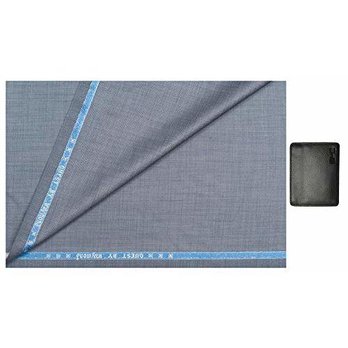 Raymond 0-Degree Men's Poly-Viscose Unstitched Safari Suit Fabric and Wallet- Medium Bluish Grey 2.6 Meters