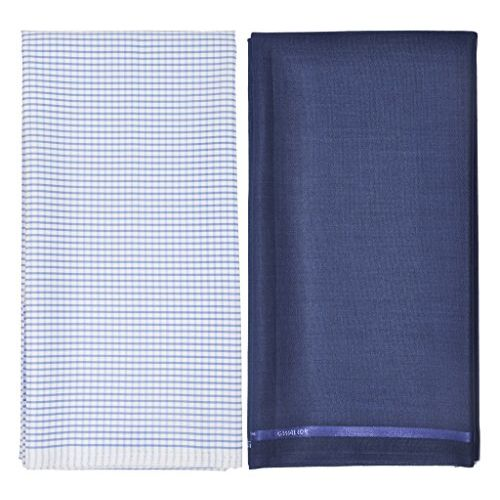My Fabric Store Men's Cotton-Blend Shirt & Poly-Viscose Pant Unstitched Executive Fabric Combo Set with Gift Box(Blue,Trouser - 1.3meters & Shirt 2.3meters)