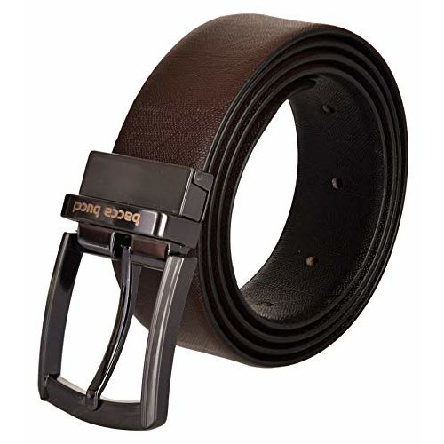 Bacca Bucci Men's Reversible Classic Dress belt Italian Top Grain Genuine leather black & brown with rotating Metal Buckle-Black/Brown