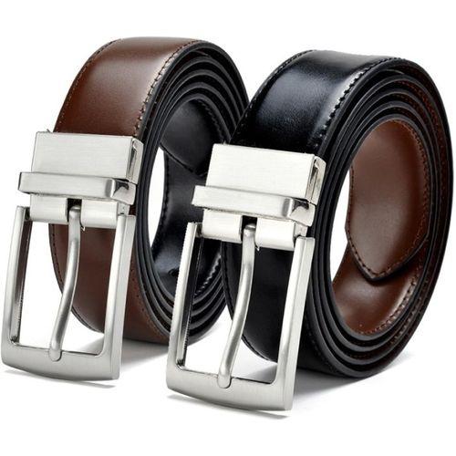 ZORO Black & brown Texas Leatherite Reversible Tongue Buckles Belt