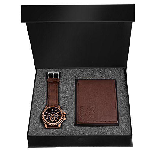 LORENZ Brown Leather Bi Fold Wallet Combo