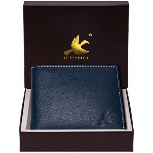 Hornbull Men Blue Genuine Leather Wallet(4 Card Slots)